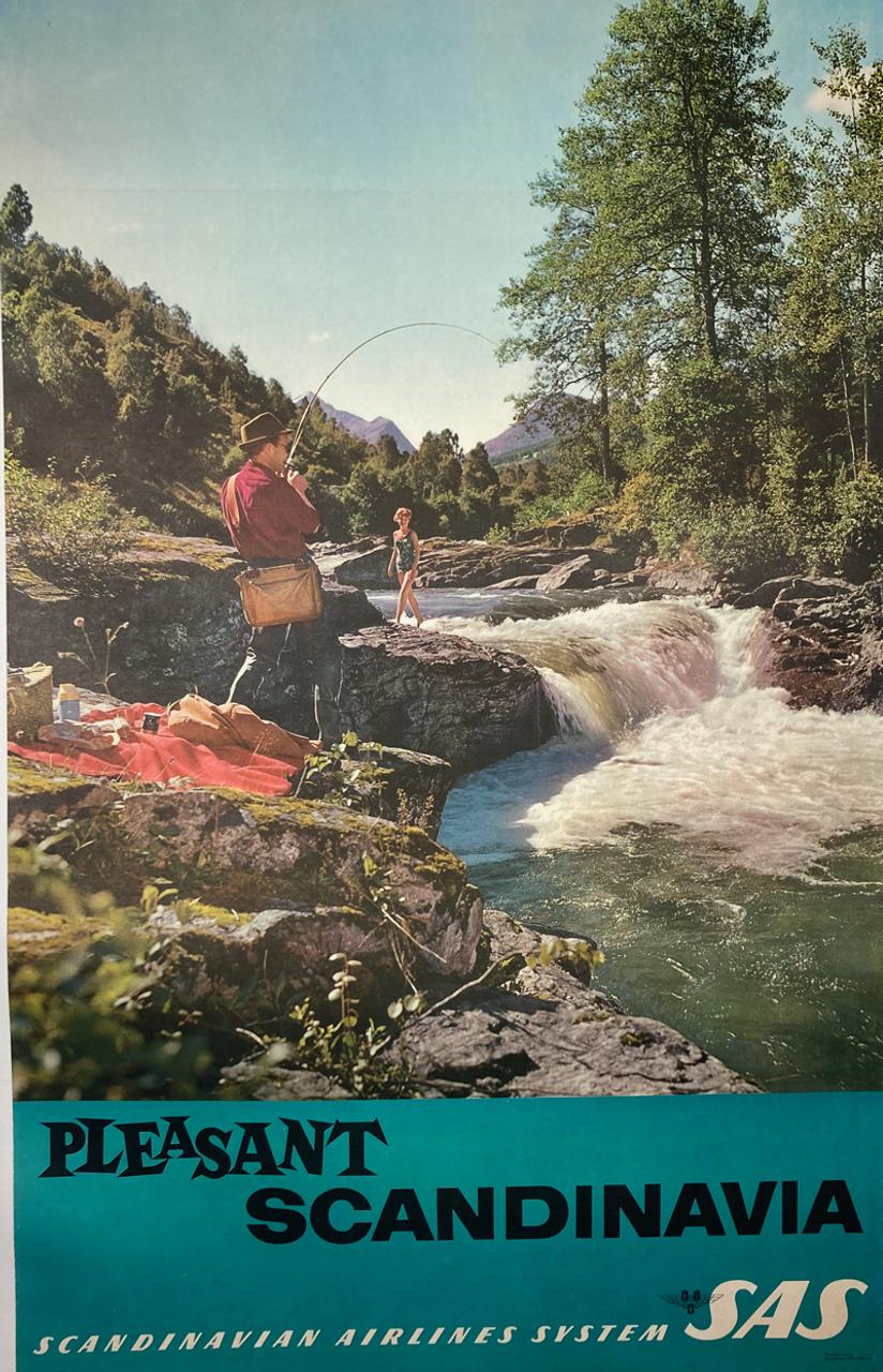 Original lithograph on linen advertising Scandanavia SAS 1964