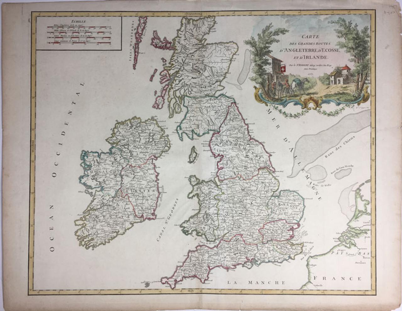 Carte Des Grandes Routes D'Angleterre, D'Ecosse et D'Irlande