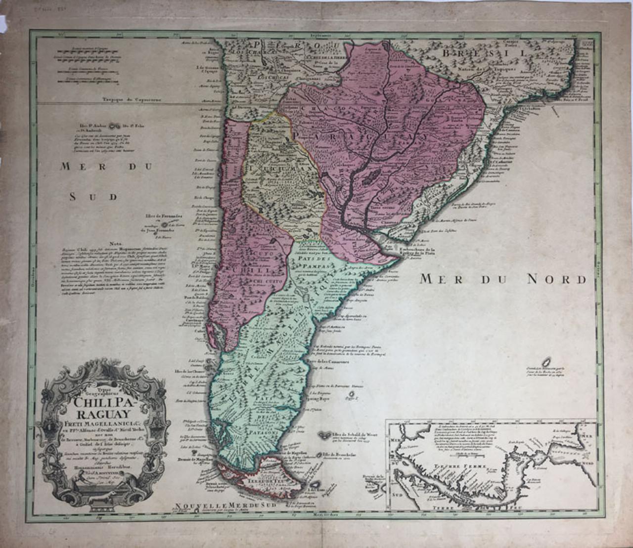 Typus Georgraphicas Chili, Paraguay Freti Magellanici & c.