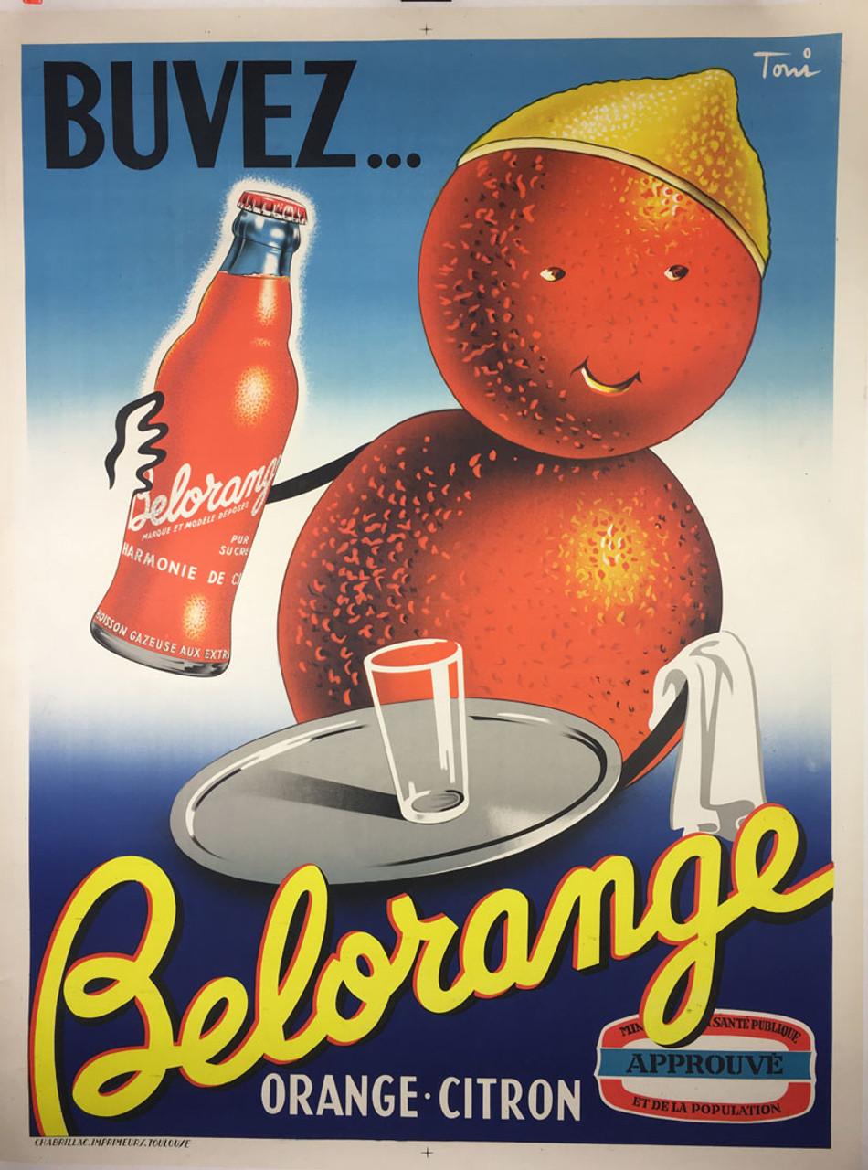 Buvez Belorange Orange-Citron on linen Toni 1949