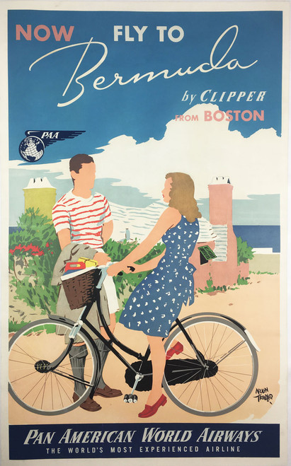Bermuda by Clipper from Boston Pan American Airlines- Bicycle