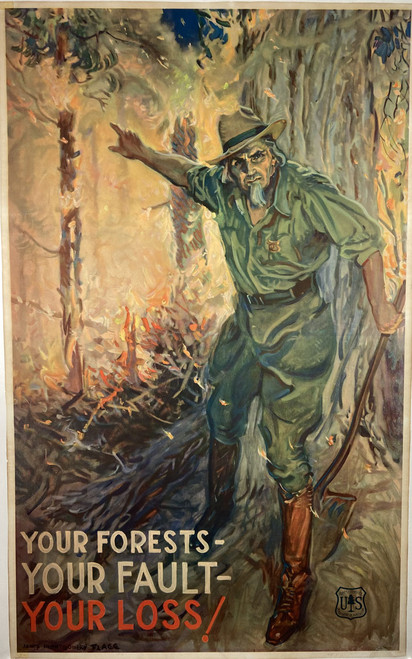 Original lithograph by James Montgomery Flagg using 'Uncle Sam' as a forest ranger the US Forest Service for sale.