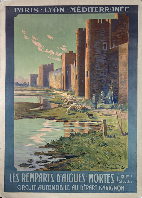 Original stone lithograph on linen advertising travel Aigues for sale