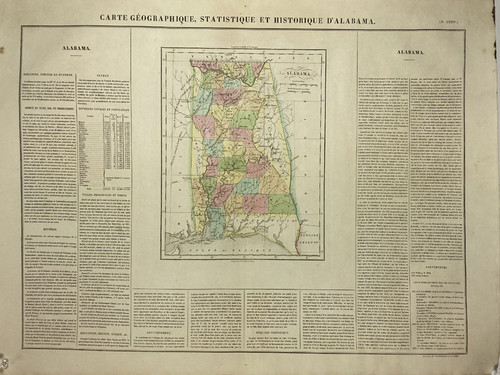 Buchon French Edition of Carey  & Lea's American Atlas - Alabama