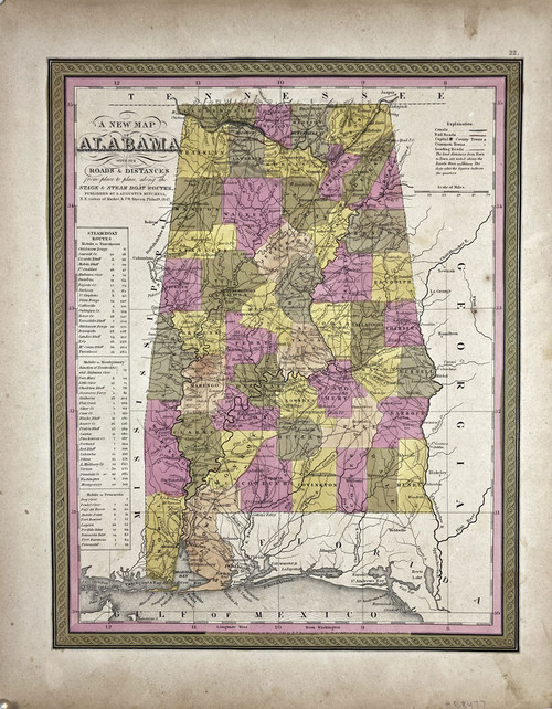 A New Map of Alabama...Canals..Stage & Steam Boat Routes...