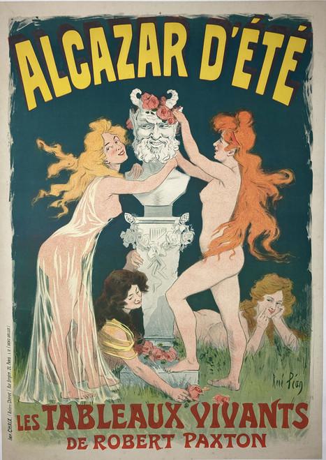 Alcazar D'Ete 1902 original stone lithograph on linen by Rene Pean for sale