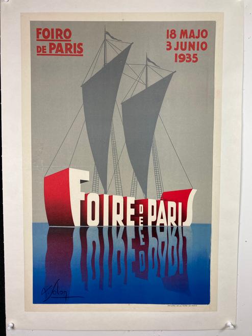 Foire de Paris 1935 Original Vintage French Exhibition Advertisement Poster by Solon Linen Backed.