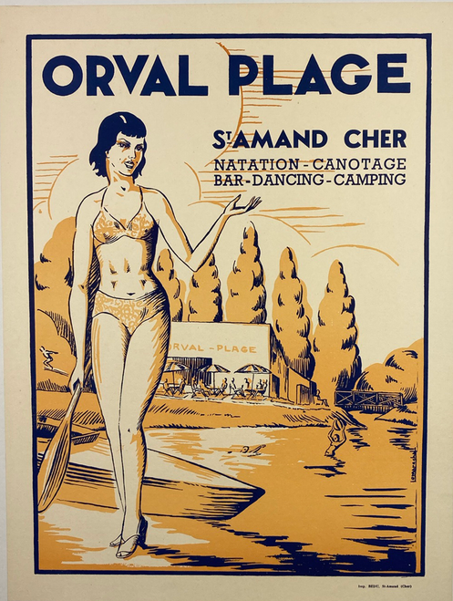 French Orval Plage St Amand Cher Original Vintage 1930's Poster by LaMarachal Linen Backed