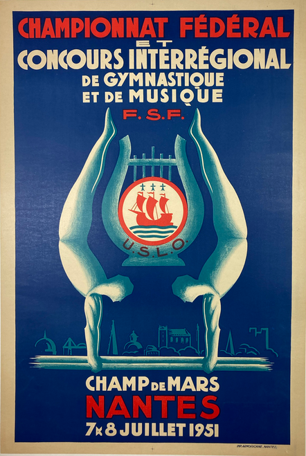 Championnat Federal Gymnastique French Original 1951 Vintage Poster by Imp. Armoricaine  Linen backed