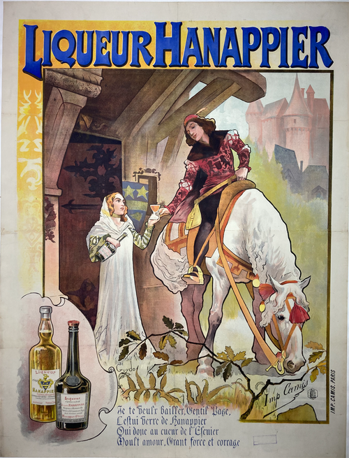 Liqueur Hanappier Original Antique advertising Poster by Guydo from 1890 - French wine and spirits poster features a nobleman on a horse receiving a glass of liqueur from a women in white. We specialize in Original Vintage and Antique Posters.