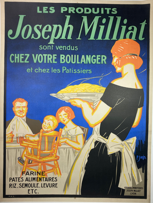 Joseph Milliat Boulanger Original French 1926 Pasta Poster by Javin  Linen Backed. French poster features family with small child who sit at the table and waiting for dinner from there Mother?.