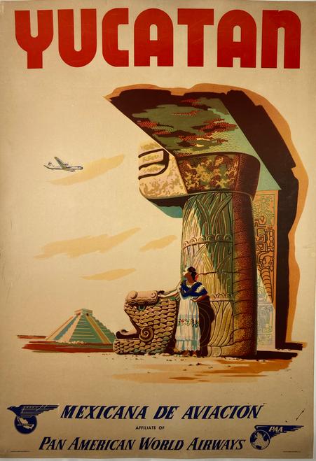 Yucatan Pan Am Airways midcentury original poster on linen cancun