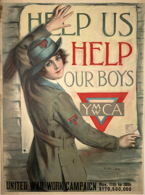 Help Us Help Our Boys YWCA/YMCA Haskell Coffin original poster on linen