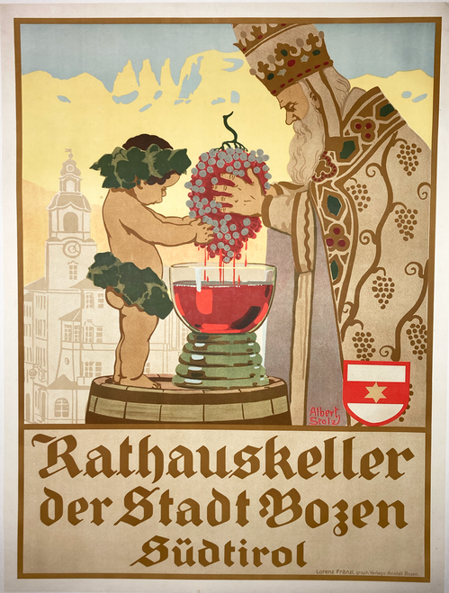 Rathauskeller Original 1920 Vintage Austrian Wine Poster by Stolz Linen Backed.