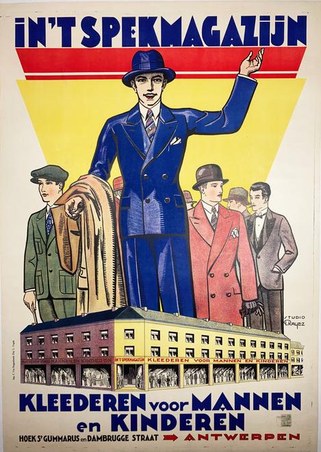 In'Tspekmagazijn by Rayez original vintage poster from 1931 Belgium Linen Backed