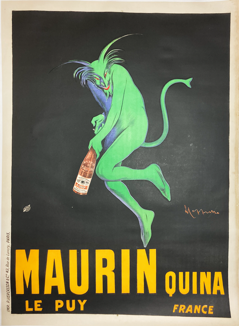 Maurin Quina Original French 1906 Antique Licquer Advertisement by Cappiello Linen Backed