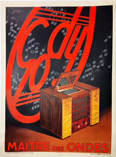 Gody Radio Reciever Maitre Des Ondes Original 1935 Vintage French Stone Lithograph Advertisement Poster by Oberon Linen Backed