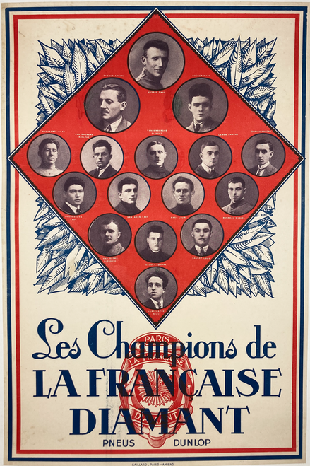 French national bicycling champions original lithograph on linen Diamant