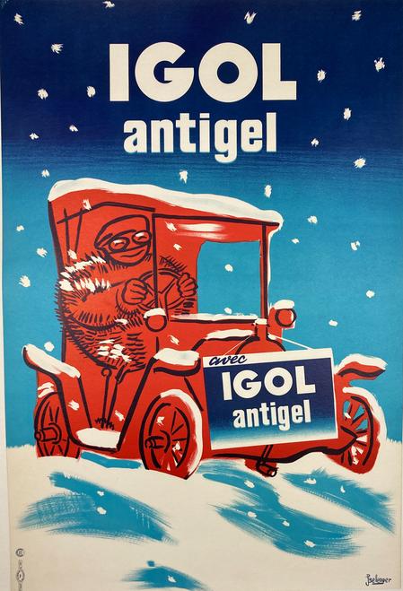 Igol Antigel antifreeze car in snow original lithograph on linen 1950