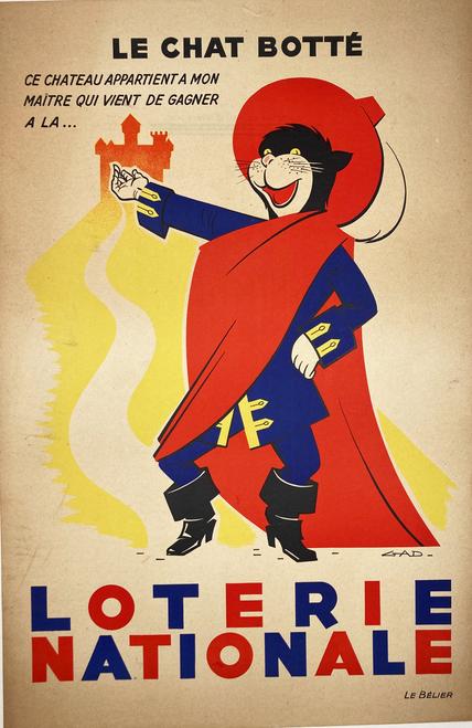 Le Chat en Bottes Loterie Nationale original lithograph on linen