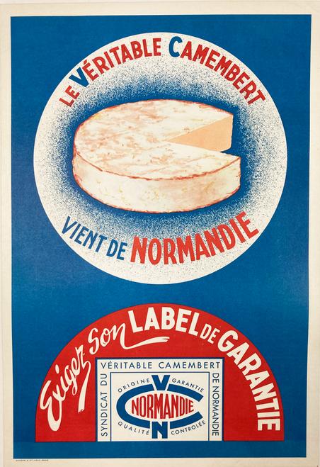 Camembert cheese original lithograph on linen 1940