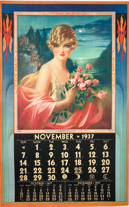 Calender Girl November 1937 original on linen Moonlight Charm