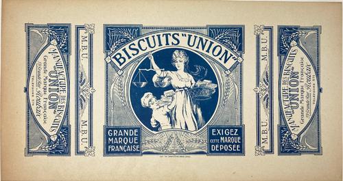 Horizontal original box label Biscuits de Union on linen