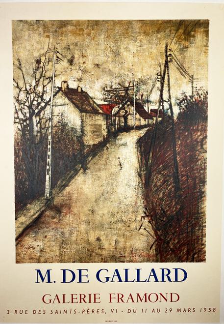 M. de Gallard Exhibit 1958 original poster on linen