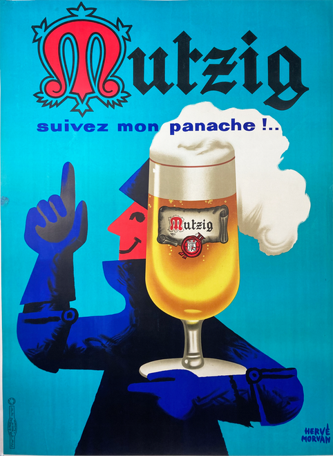Mutzig Beer original lithograph glass and knight on linen