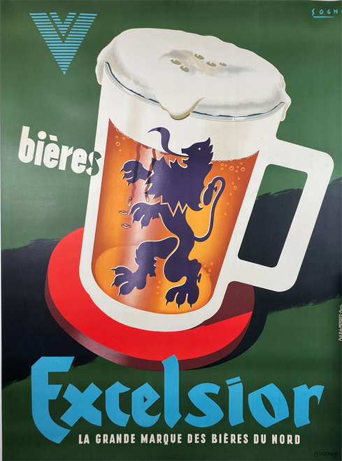 Excelsior Bieres original stone lithograph France features beer stein with lion