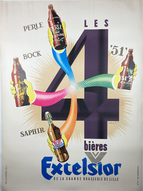 Excelsior Bieres original poster  by Sogno Features 4 hands holding beers 1938 french