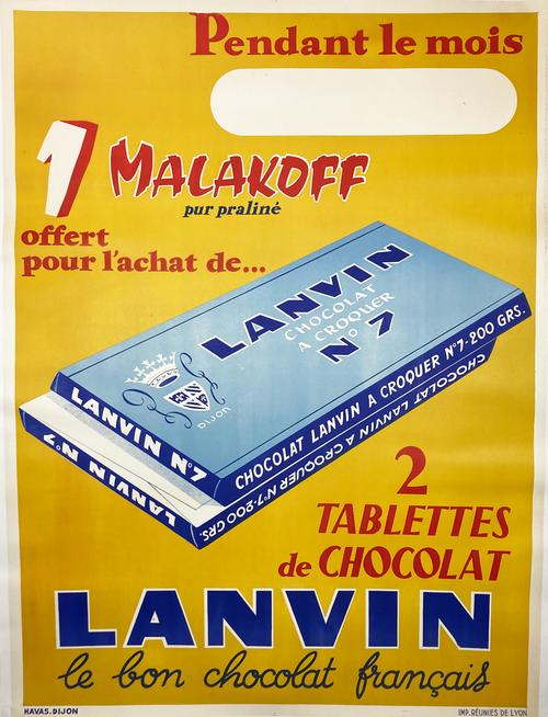 Lanvin  Chocolat a Croquer No.7 original french lithograph on linen