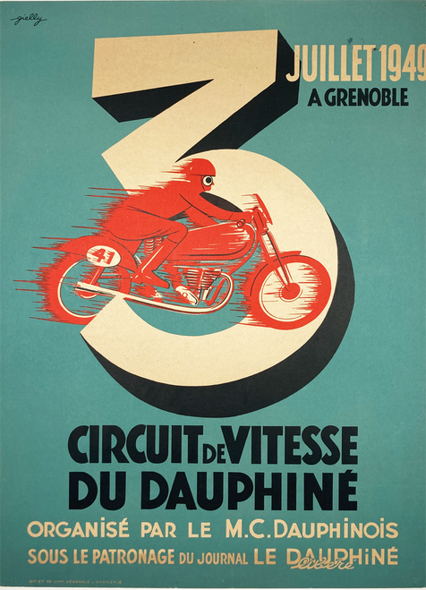 Original stone lithograph motorcycle race Circuit Vitessee du Dauphine 1949