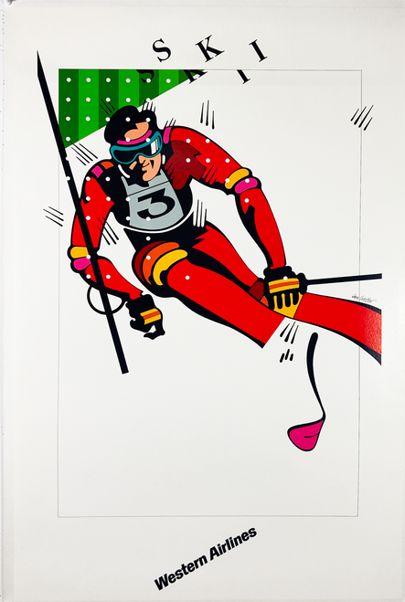 Original Western Airline poster for skiing on linen contemporary post by Don Weller