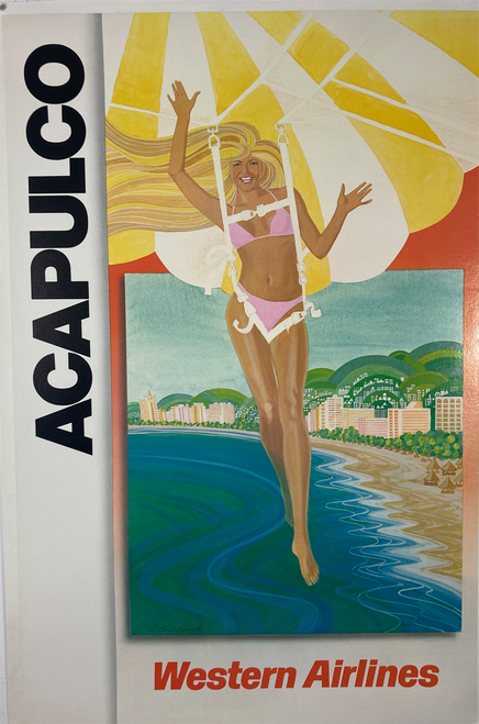 Original Western Airline poster for Acapulco on linen featuring a blond parasailing