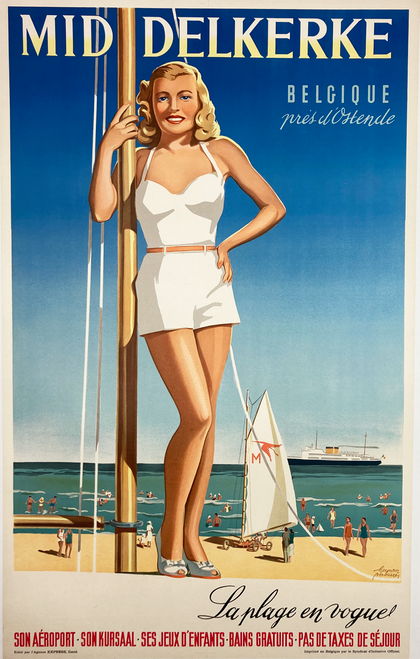 Original Belgian lithograph on linen Mid Delkerke Swimsuit sailing bathing beauty vintage poster