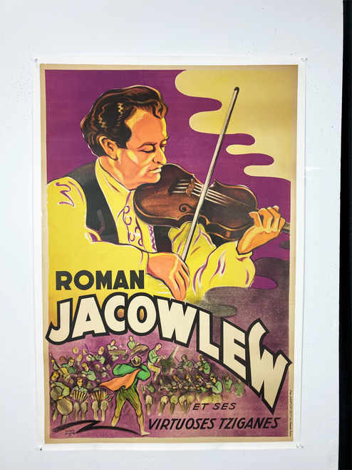 Original poster on linen featuring violinist 1930