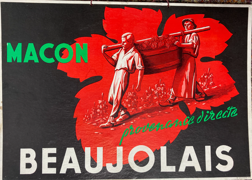 Original 1950s point of purchase cartone advertising Beaujolais wines Macon provenence directe for sale