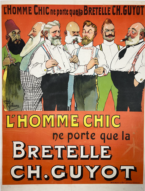Original stone lithograph on linen antique poster featuring men wearing suspenders