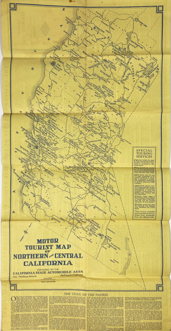Original paper touring map for driving in Northern and Central California antique
