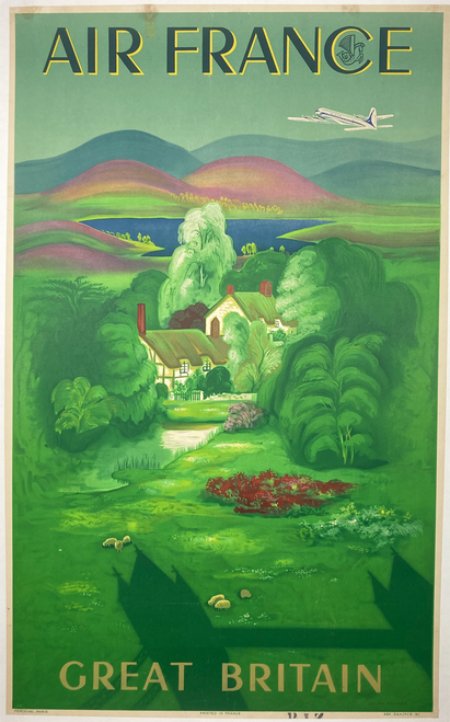 Original lithograph on linen by Lucien Boucher features a verdant English landscape and thatched roof house