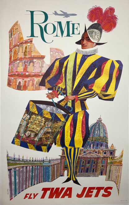 Original lithograph on linen by David Klein for TWA featuring Vatican and Swiss Guard image for sale.Poster of the Year 1961 ASTA Travel Poster Contest