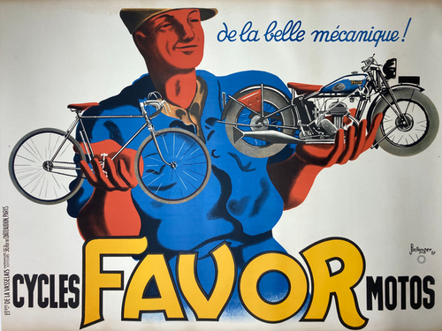 Original stone lithograph on linen by Bellenger 1937 advertising bicycles and motorbikes  art deco for sale