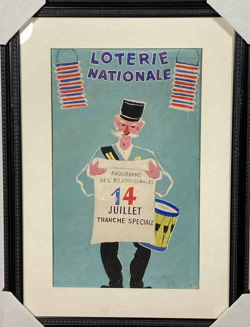 Original maquette advertising National Lottery one of a kind July 14 Bastille Day