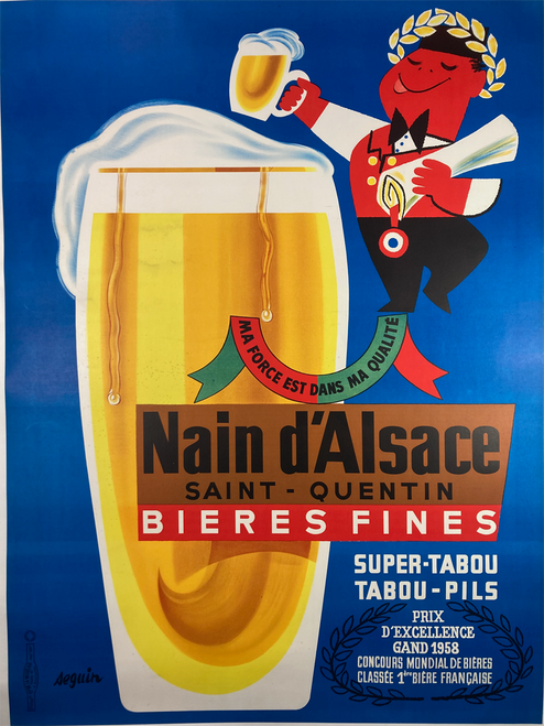 Original lithograph on linen advertising Nain Bieres The Strength is in the Quality featuring man with gold laurel leaves mid century