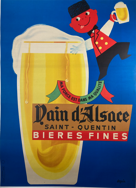 Original lithograph on linen advertising Nain d'Alsace Bieres Fines featuring a man with black hat