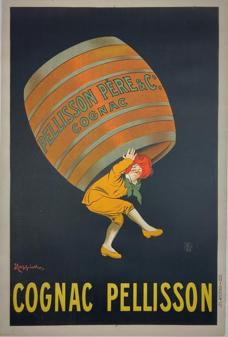 Cognac Pellison original stone lithograph by Leonetti Cappiello 1905 amazing image very clean