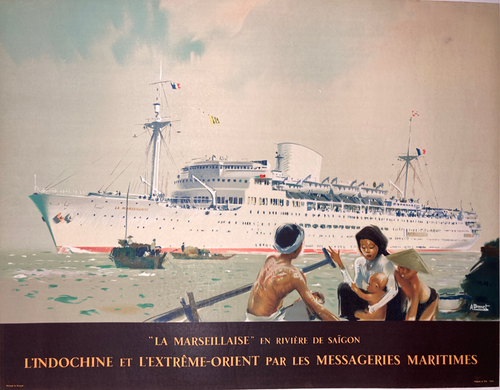 Rare Original horizontal lithograph on linen advertising travel to the Orient 1949 by Brenet