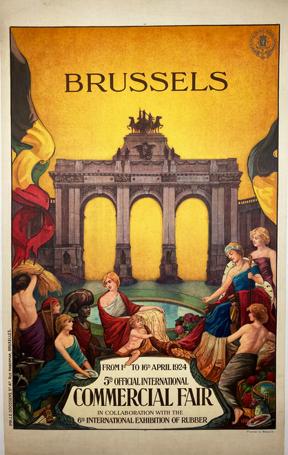 Original stone lithograph on linen advertising 1924 Commerical Fair in Bruxelles