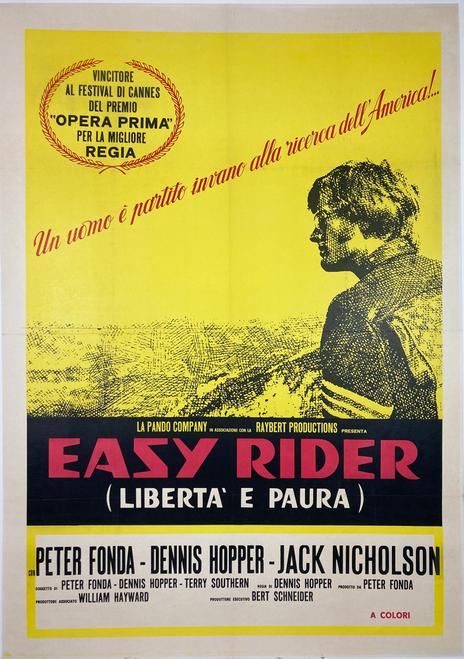 Original Italian lithograph 1969 rerelease for Easy Rider winner of Cannes Film Festival